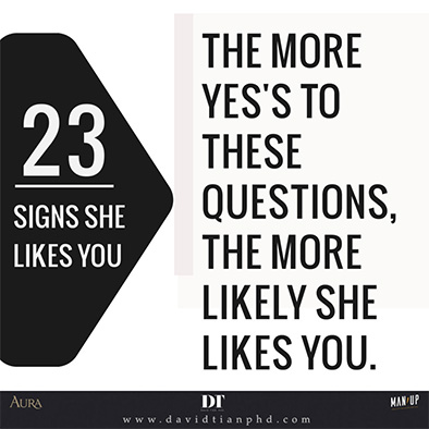 """23 Signs She Likes You"""